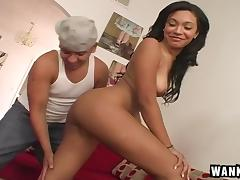 Shaved pussy is his favorite kind to fuck and hers is very nice