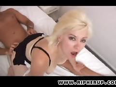 Fine-looking blonde gets the aggressive penetration from her partner