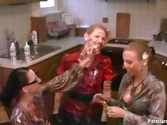 Naughty lesbians shower with their cloths on in harvested cum at their apartment