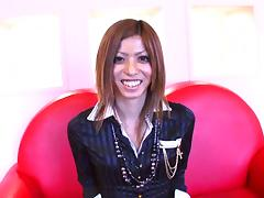 Cute Japanese tranny strips slowly and strokes her shaft