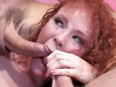 Curly hair redheaded whore pulls off a double anal penetration