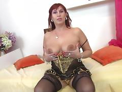 Middle-aged chick with the red hair enjoys her time with the cock