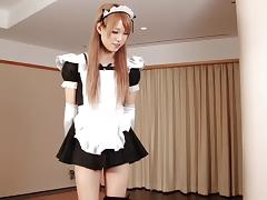 Maid costume looks great on this solo Japanese tranny