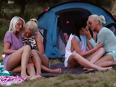 Gorgeous teenage chicks going totally wild on the camping site