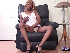 Ebony transsexual Claudia Fairest pumps her big, thick cock