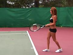 Blonde beauty gets into a hot threesome on the tennis court