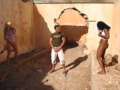 Jada and Alicia are about to share the pecker in the old ruins