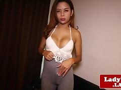 Ladyboy toying her ass with buttplug