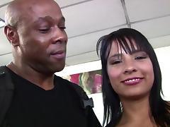 Hot Latina sucks black cock and eats cumload