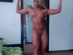 Muscle, Blonde, Flexible, Muscle, Nudist, Small Tits