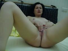 Masturbating and stroking wet puss