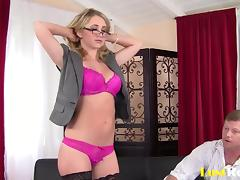 Nerdy blonde Casi Layne and a cum-covered face