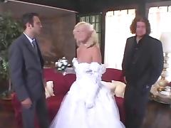 College girl  blonde bride babe fucks her groom and his best man
