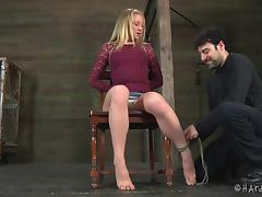 Cutest blonde called Tracey handles the roughest BDSM session ever