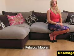 Busty brit casted in office anal sex audition