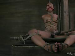 Chocolate hottie Chanell Heart is tied up and attacked with a toy