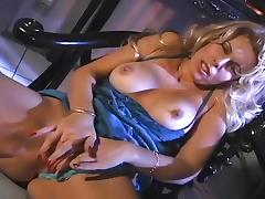 Horny Blond Grabs Her Tits in Fingerbang