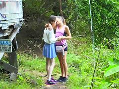 Spontaneous lesbian teen kissing her babe then showing of her juicy pussy in the forest