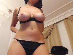 Nerdy girl with big boobs on webcam