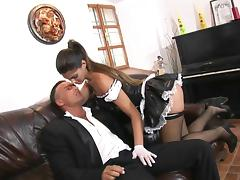 Maid, Big Cock, Couple, Fishnet, Hardcore, Leather