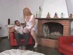 Hot thick blonde fucks man in pantyhose