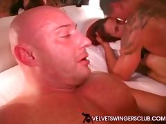 Velvet Swinger Club wives making out group sex party