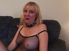 Fabulous blonde cougar strips down and masturbates