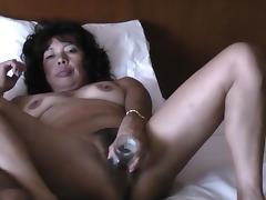 Asian wife masturbates and riding cock