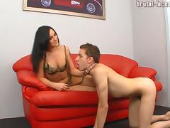 Brown-haired servant has to give his mistress a thorough oral pleasure