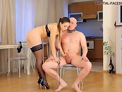 Breathtaking diva riding her slave massive cock hardcore in BDSM porn