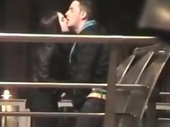 Amateur couple caught masturbating and handjob in public