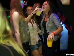 Drinking fuels the night club orgy with gorgeous ladies fucking