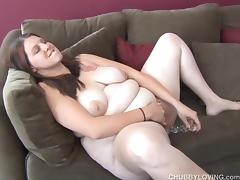 Busty brunette BBW loves to fuck her fat juicy pussy 4 U