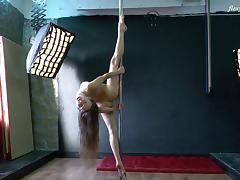 Skinny solo model with long hair stripping marvelous