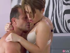 George & Sasha Zima in Intimate creampie for brunette MILF - MomXXX