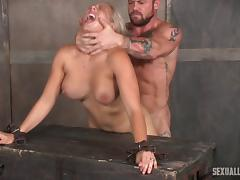 Blonde slave hair pulled behind when fucked in BDSM
