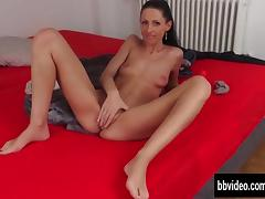 Slim german cutie fucks a dildo