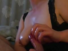Oily handjob...cum on big tits!