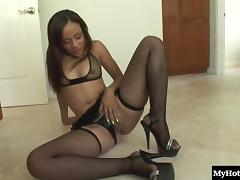 Skinny ebony minx gets her tight pussy licked and pounded