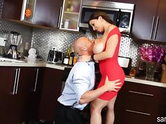 Sara Jay Fucks Hard Cock in the Kitchen!