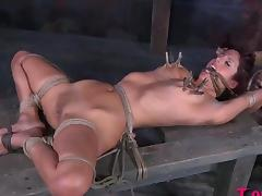 Alluring sex position of bondage babe coping up with torture