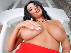 anissa plays with her big boobs and tight pussy