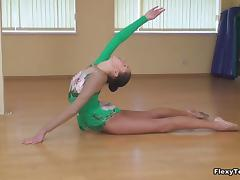Cute ballet dancer gets horny and strips during her practice