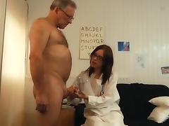 Young doctor babe sucks old man cock fucks and swallows cum
