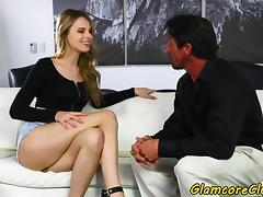 Glamcore babe pussyfucked on the couch
