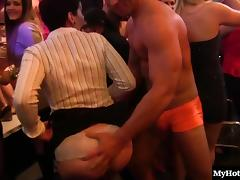 Sexy dame rewarding her guy with nice blowjob in club
