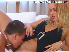 Bossy mistress rides the face of her collared slave boy