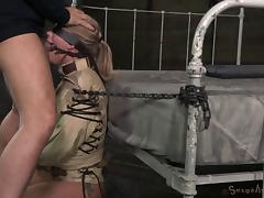 Bondage slave yells when pounded hardcore in BDSM porn