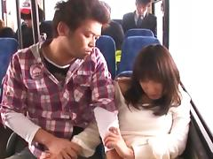 Horny Asian dame giving big cock blowjob in public bus