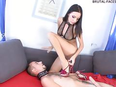 He's just a sex toy to her and has to obey the chick's every order!